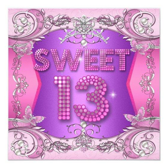 Sweet 13 13th Birthday Party Pink Purple Birthday Party Invitations