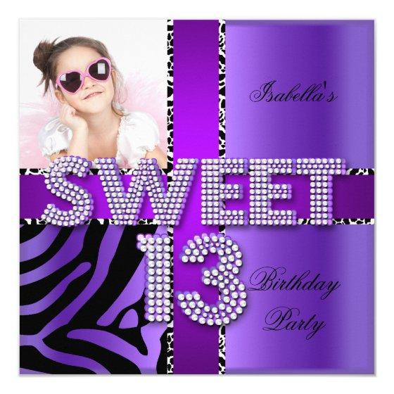 220 Sweet 13 13th Birthday Zebra Cow Purple Black