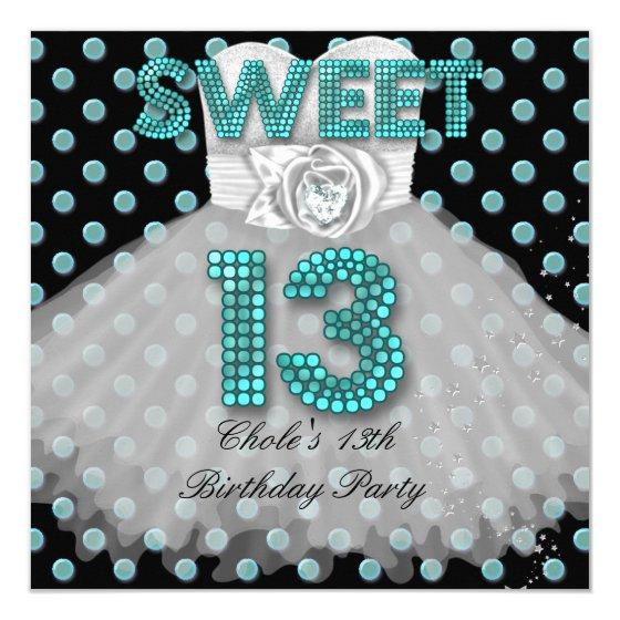 220 Sweet 13th Birthday Party Girls 13 Teen Teal Blue Invitation