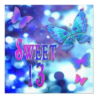 SWEET 13TH BIRTHDAY PARTY INVITTION - BUTTERFLY