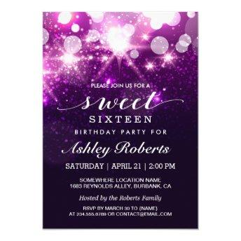 Sweet 16 Bday Party Trendy Purple Glitter Sparkles