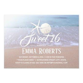 Sweet 16 Beach Theme Starfish & Sand Dollar Invitation