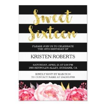 Sweet 16 Birthday Floral Gold Black White Stripes