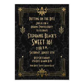 Sweet 16 Birthday Invitation Roaring 20s Art Deco