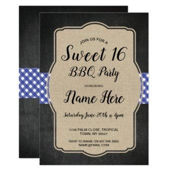 Sweet 16 Birthday Party BBQ Blue Gingham Burlap Invitation