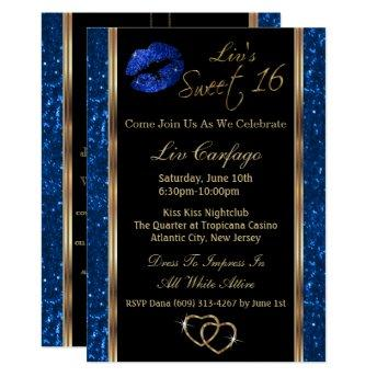 Sweet 16 Blue Glitter Invitation