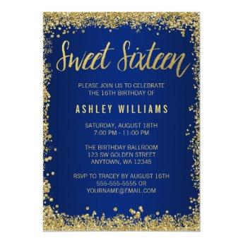 Sweet 16 Blue Gold Glitter Birthday