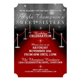 Sweet 16 Glamorous Red Carpet Party Invitation