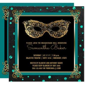 Sweet 16 Masquerade Ball Sweet Sixteen Teal Gold Invitation