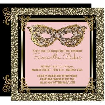 Sweet 16 Masquerade | Sweet Sixteen Pink Gold Invitation