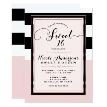 Sweet 16 Modern Pink Black & White Stripes Party Invitation