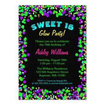 Sweet 16 Neon Glow Confetti Birthday Party Invitation