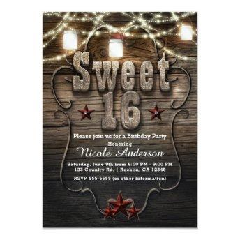 SWEET 16 Rustic Mason Jars Lights Birthday Party Invitation