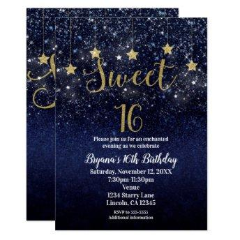 Sweet 16 Starry Night Gold Blue Sparkle Sky Party Invitation