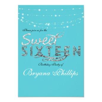 Sweet 16 Teal Turquoise Glitter Birthday Party