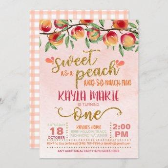 Sweet as a Peach 1st Birthday Invitation - Gingham
