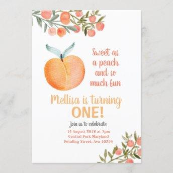 Sweet as a peach and so much fun Birthday Invitation