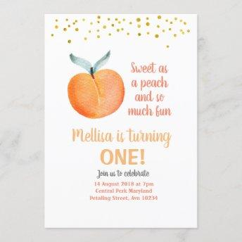 Sweet as a peach Birthday gold Invitation