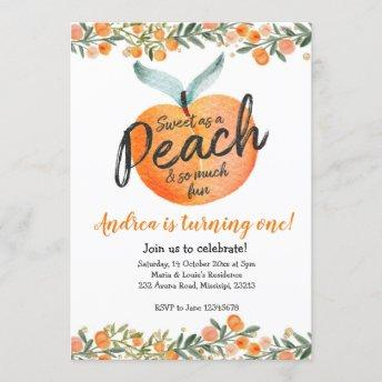 Sweet as a Peach First Birthday Invitation