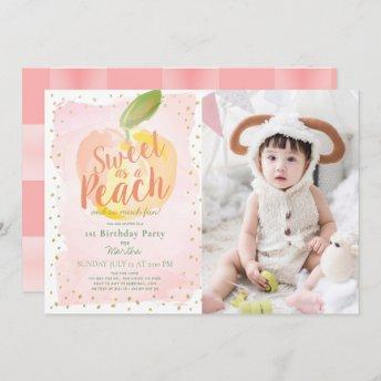 Sweet as a Peach Pink Girl Photo 1st Birthday Invitation