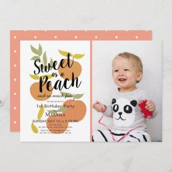 Sweet as a Peach Retro Girl Photo 1st Birthday Invitation