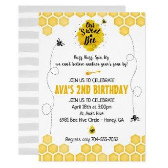 Sweet Bee Birthday Invitation