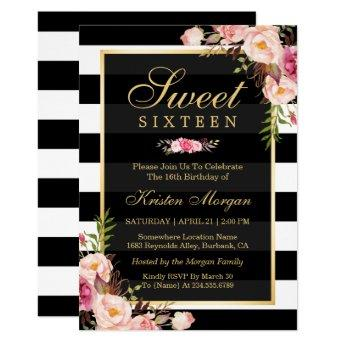 Sweet Sixteen Beautiful Floral Black White Stripes