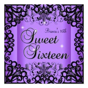 Sweet Sixteen Sweet 16 Birthday Black Purple