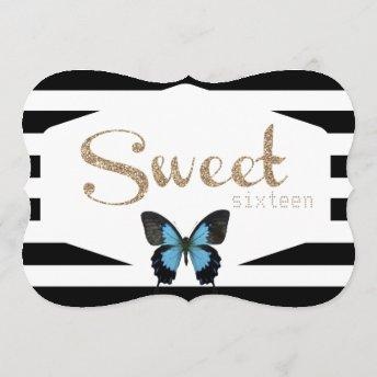 Sweet Sixteen with Gold and Blue Butterflies Invitation