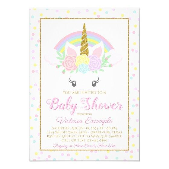 195 Sweet Unicorn Rainbow Baby Girl Shower Invitation