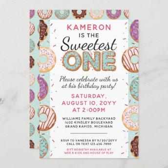 SWEETEST ONE Blue Iced Donuts Baby First Birthday Invitation