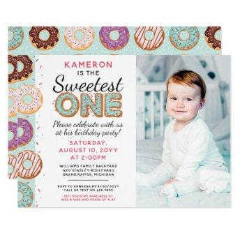 SWEETEST ONE Blue Iced Donuts First Birthday Photo Invitation