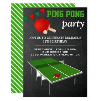 Table Tennis Ping Pong Birthday Party Invitation
