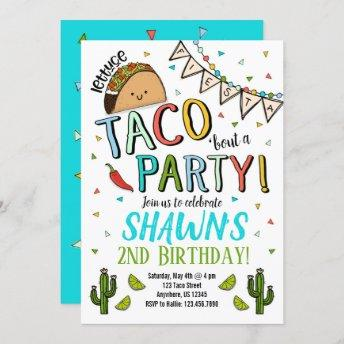 Taco Birthday Party Invitation Cinco De Mayo Blue