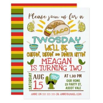 Taco Twosday 2nd Birthday Invitation