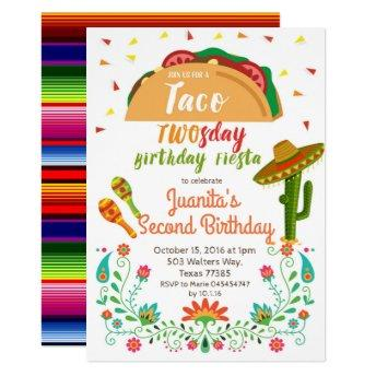 Taco TWOSday 2nd Birthday Party Fiesta Invitation