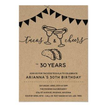 Tacos & Tequila Margarita Birthday Party - Any Age Invitation