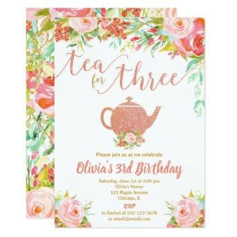Tea for three rose gold girl 3rd third birthday invitation