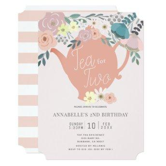 Tea for Two Pink Floral Tea Party 2nd Birthday Invitation