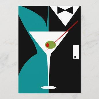 Teal and Black Art Deco Cocktail Birthday Party Invitation
