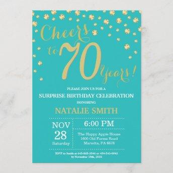 Teal and Gold Surprise 70th Birthday Diamond Invitation
