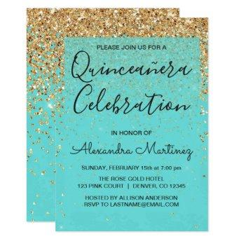 Teal Blue Girly Glitter Sparkle Quinceanera