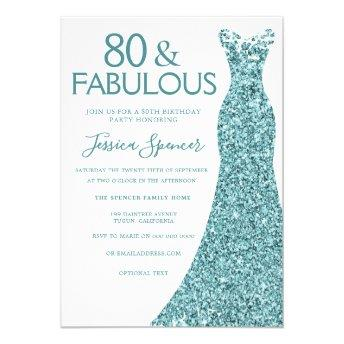 Teal Blue Green Glitter Dress 80th Birthday Party Invitation