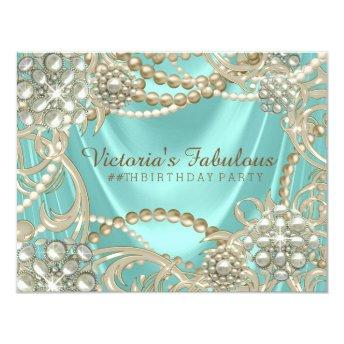 Teal Blue Ivory Pearl Birthday Party Invitation