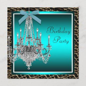 Teal Blue Leopard Chandelier Birthday Party Invitation