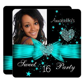 Teal Blue Sweet 16 Birthday Party Diamond Photo