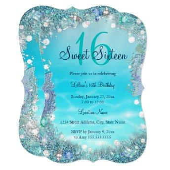 Teal Blue Water Ocean Pearls Sweet 16 Party