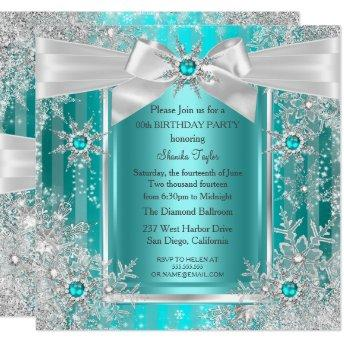 Teal Blue Winter Wonderland Snowflake Silver Bow