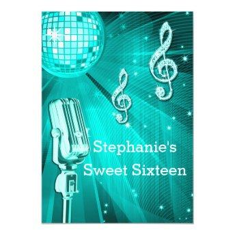 Teal Disco Ball and Retro Microphone Sweet Sixteen Invitation