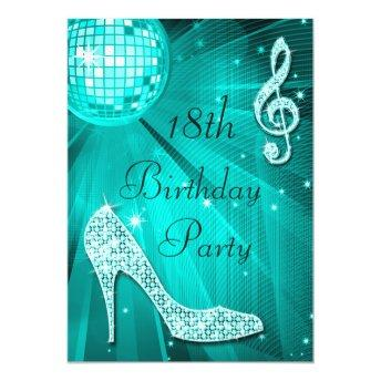 Teal Disco Ball and Sparkle Heels 18th Birthday